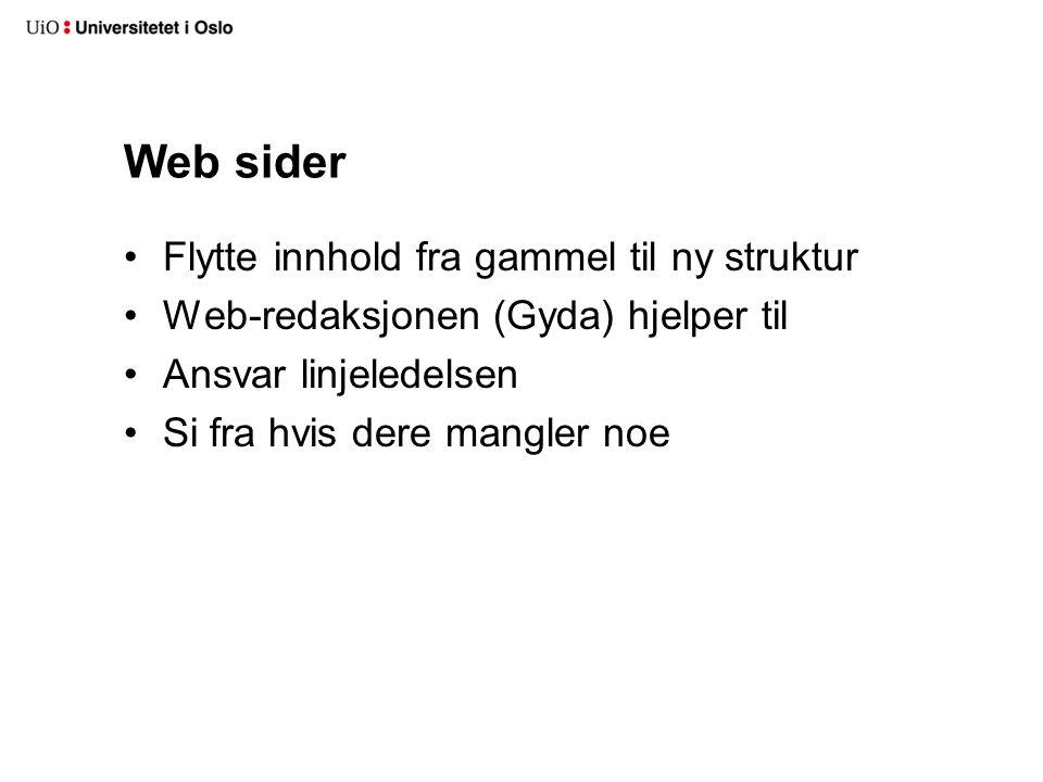 Web sider Flytte innhold fra gammel til ny struktur