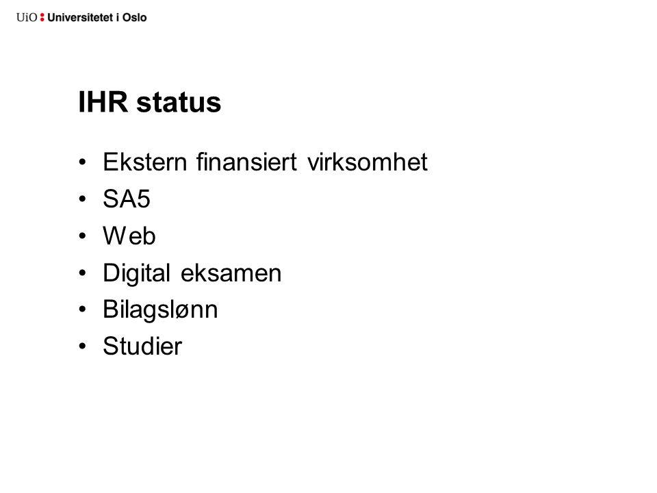 IHR status Ekstern finansiert virksomhet SA5 Web Digital eksamen
