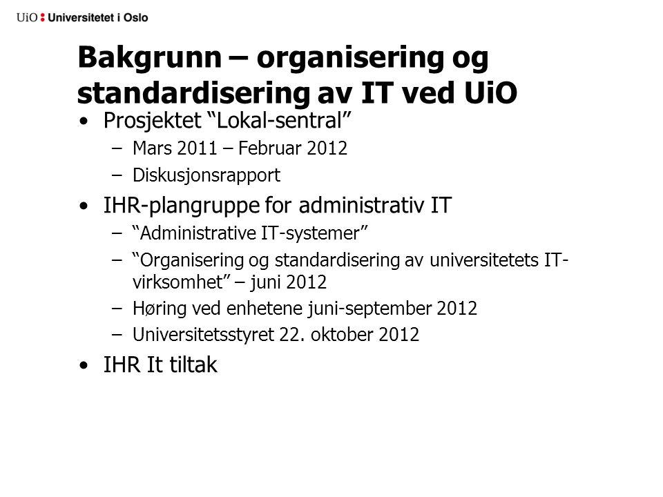 Bakgrunn – organisering og standardisering av IT ved UiO