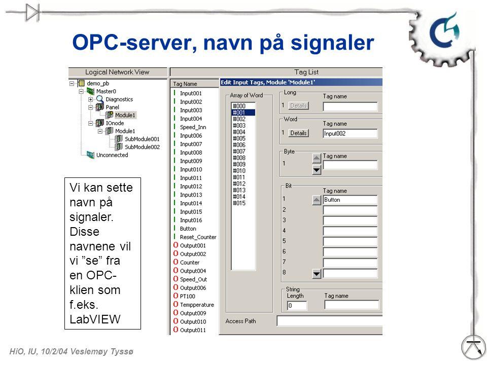 OPC-server, navn på signaler