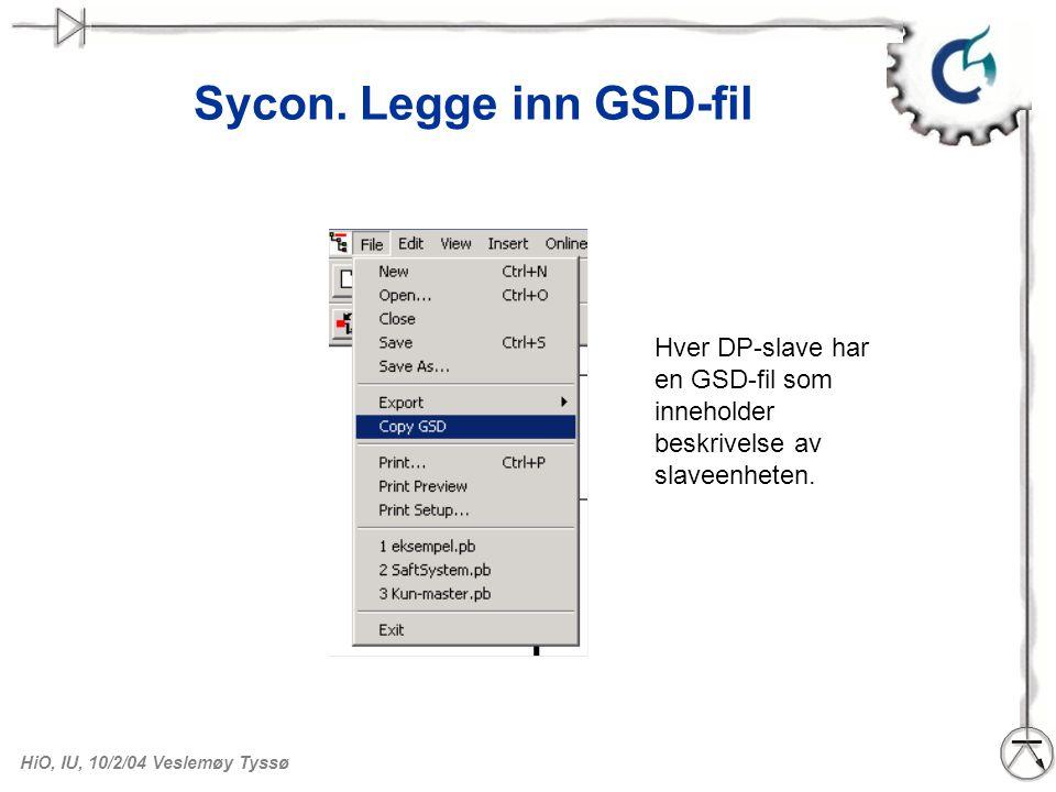 Sycon. Legge inn GSD-fil