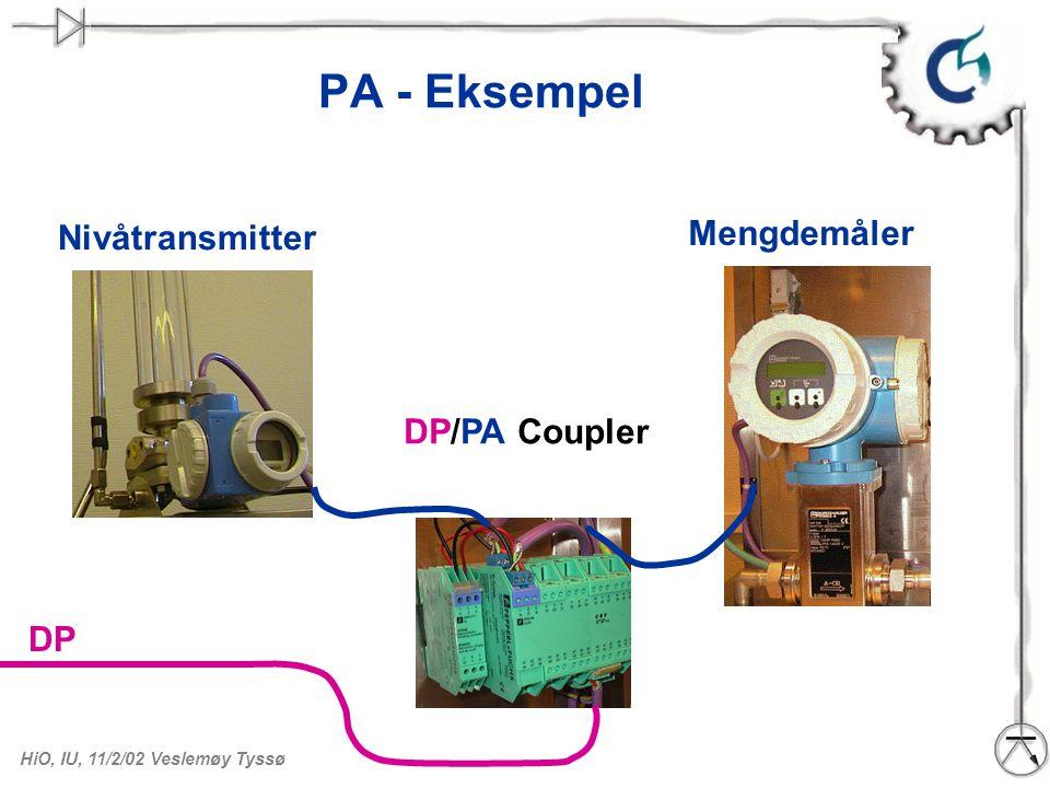 PA - Eksempel Mengdemåler Nivåtransmitter DP/PA Coupler DP