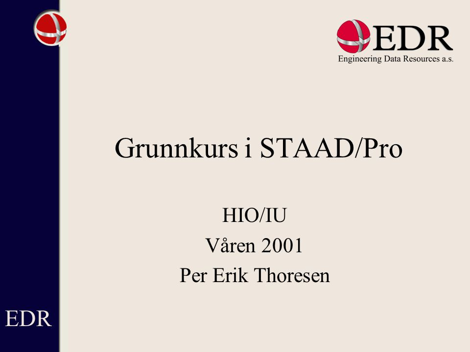 HIO/IU Våren 2001 Per Erik Thoresen