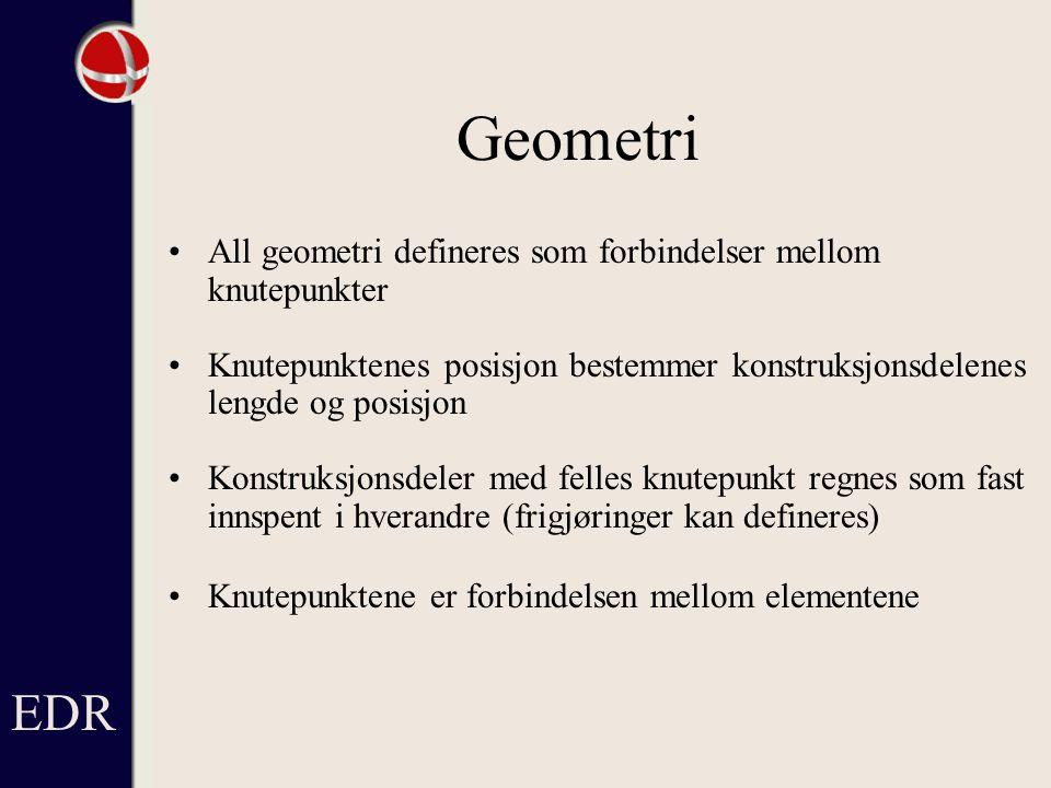 EDR Geometri. All geometri defineres som forbindelser mellom knutepunkter.