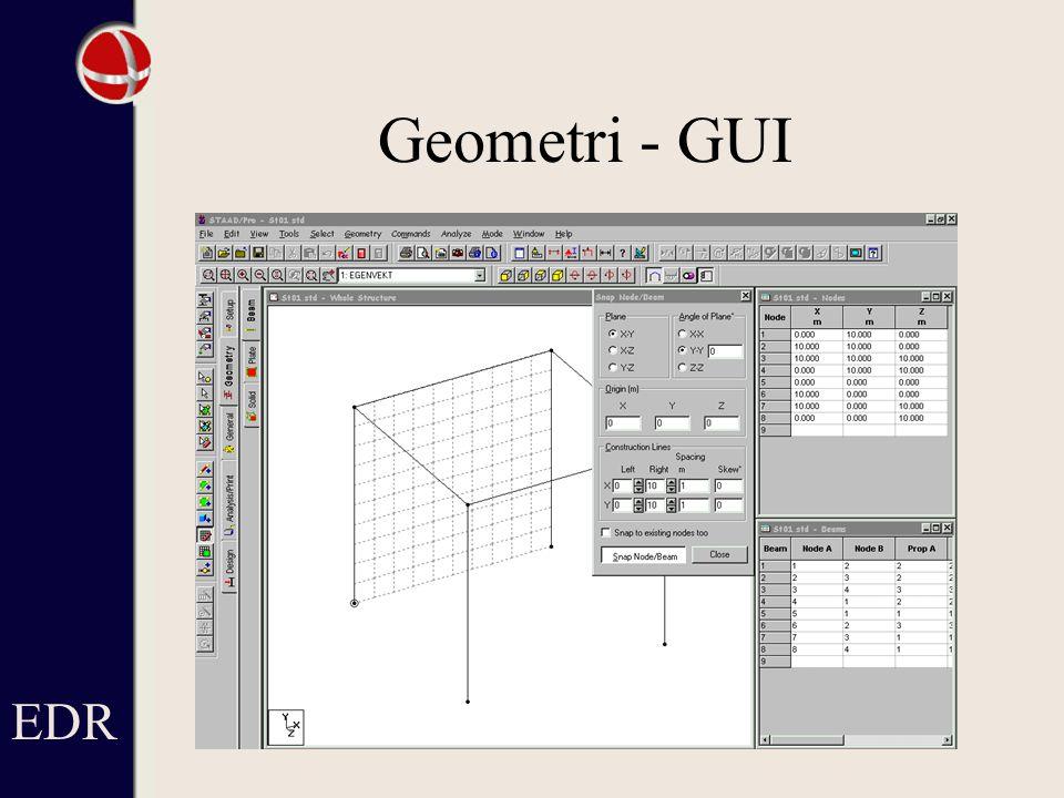 Geometri - GUI EDR Lista till höger med knutpunkter och bjälkar