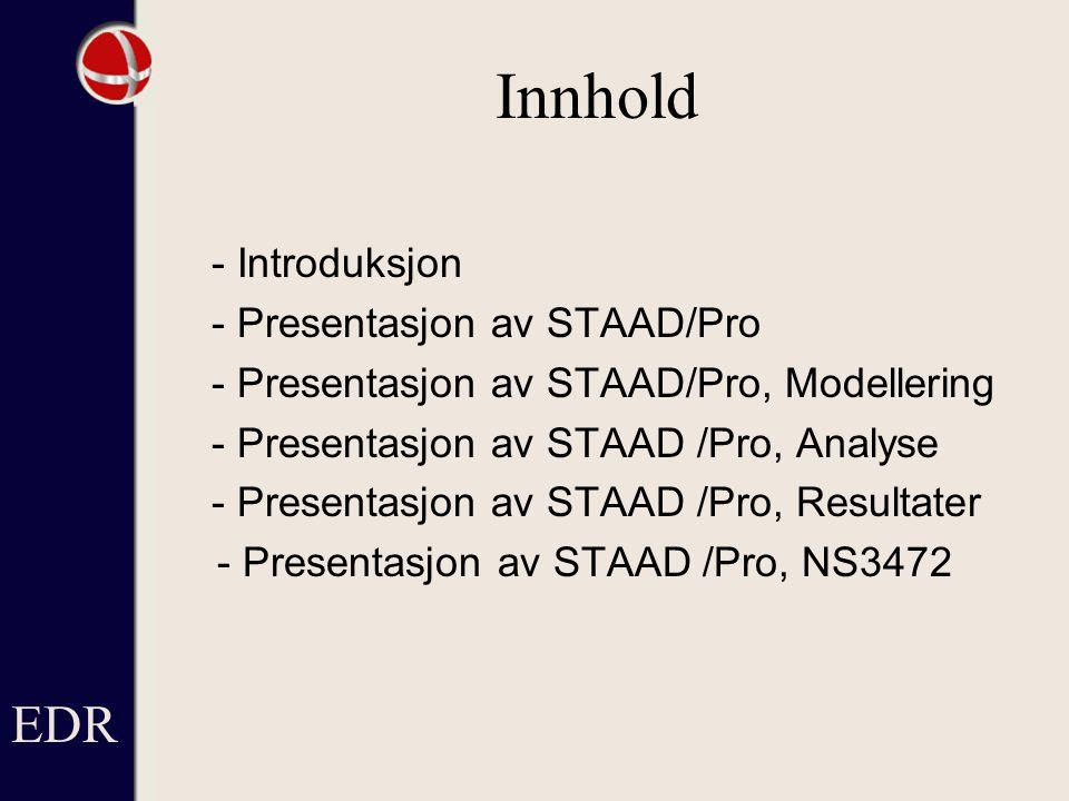 Innhold EDR - Presentasjon av STAAD/Pro