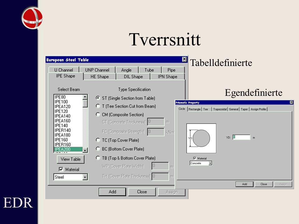 Tverrsnitt EDR Tabelldefinierte Egendefinierte