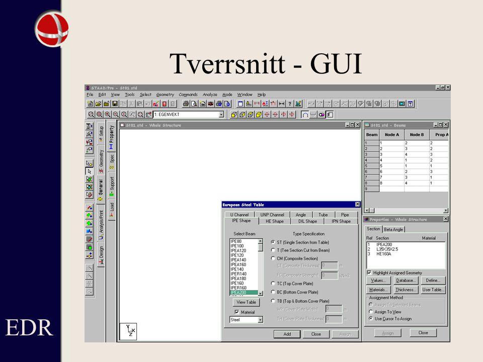 Tverrsnitt - GUI EDR Lista till höger med definerade tvärsnitt.