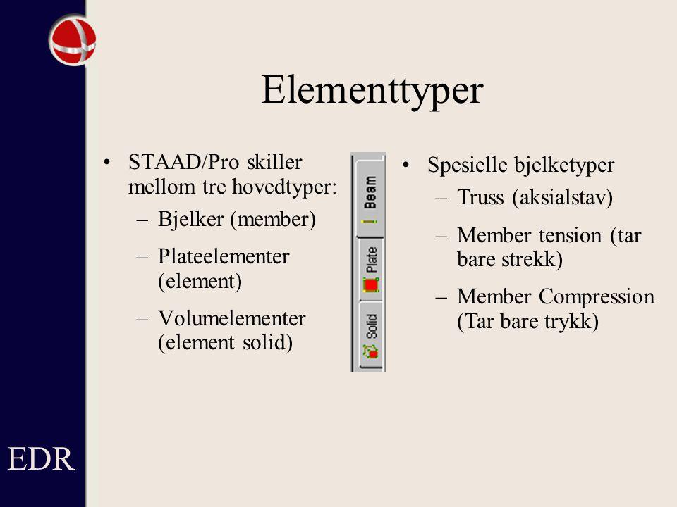 Elementtyper EDR STAAD/Pro skiller mellom tre hovedtyper:
