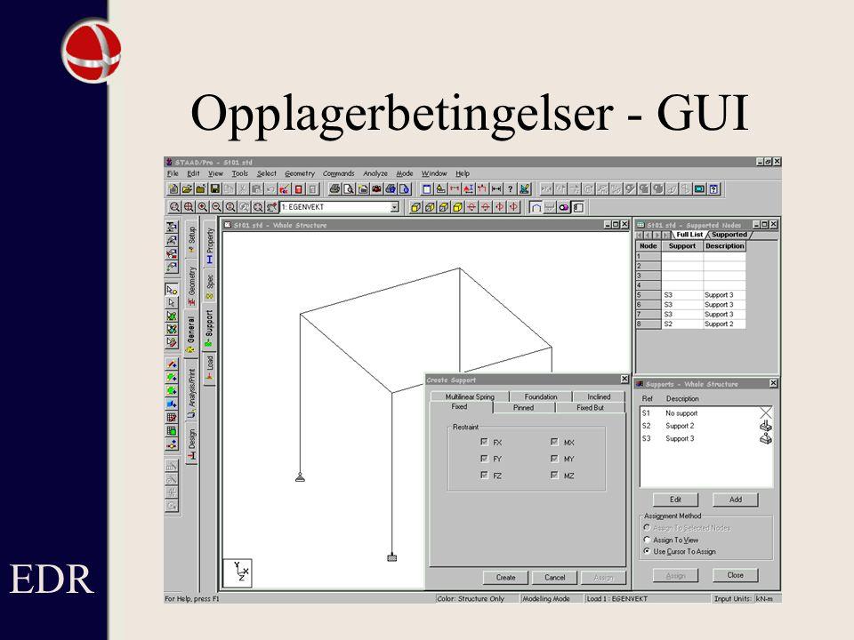 Opplagerbetingelser - GUI