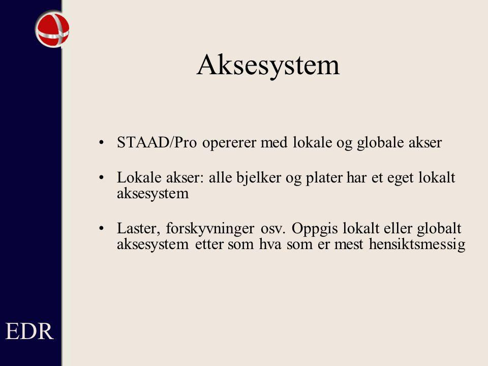 Aksesystem EDR STAAD/Pro opererer med lokale og globale akser