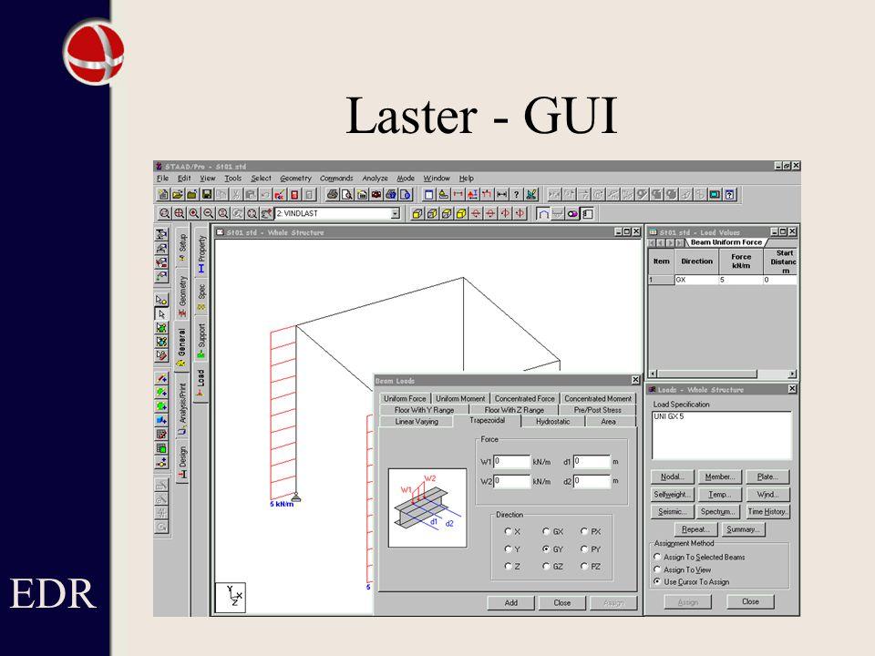 EDR Laster - GUI Ser lasterna utsatta i modellen och listade till höger.