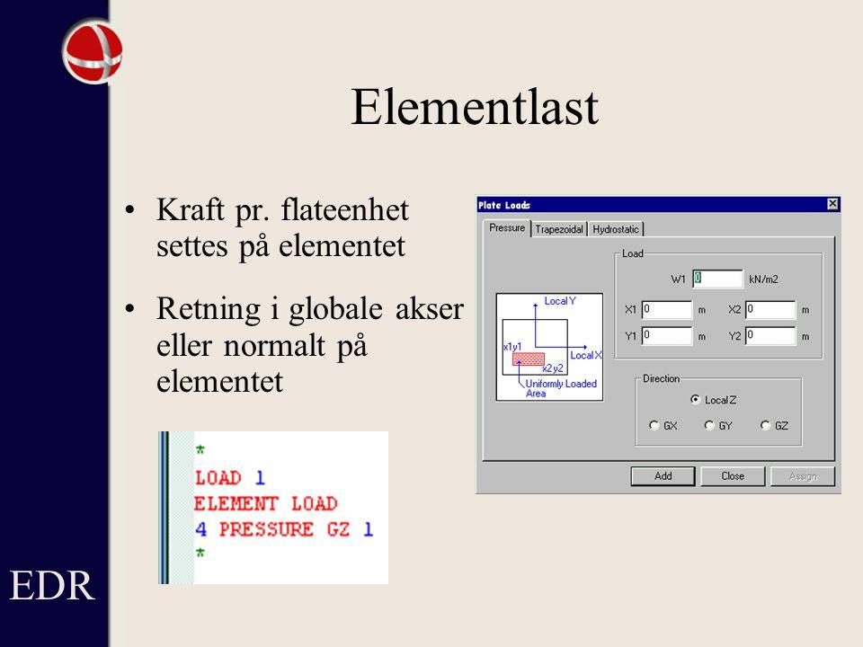Elementlast EDR Kraft pr. flateenhet settes på elementet