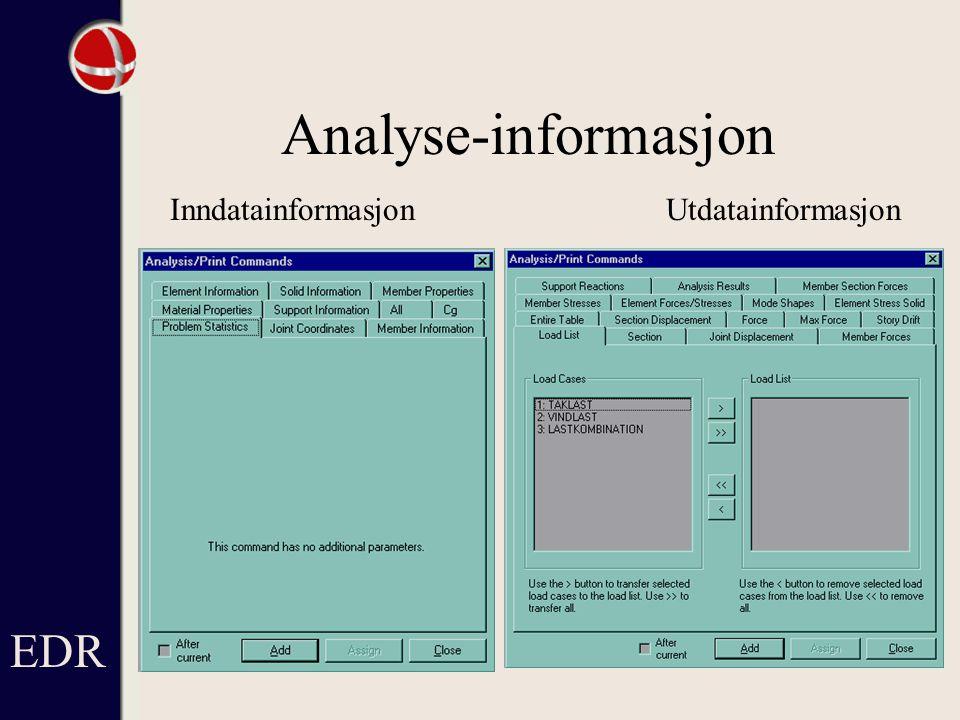 Analyse-informasjon EDR Inndatainformasjon Utdatainformasjon