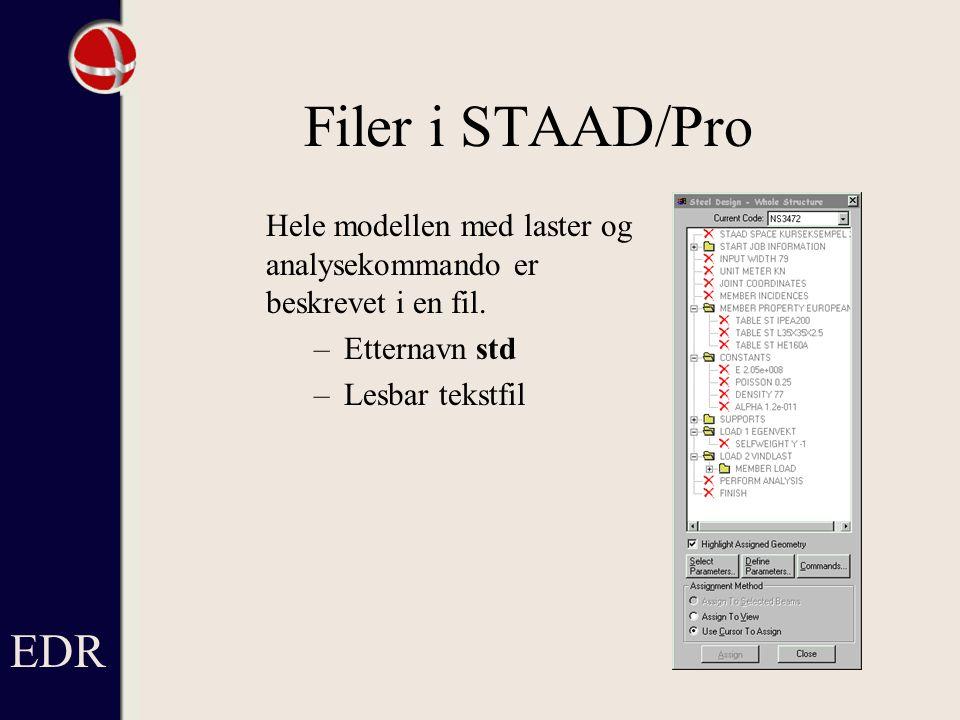 Filer i STAAD/Pro EDR Hele modellen med laster og analysekommando er