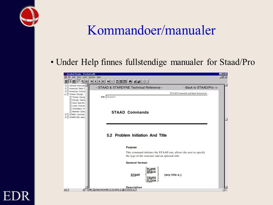 Kommandoer/manualer EDR