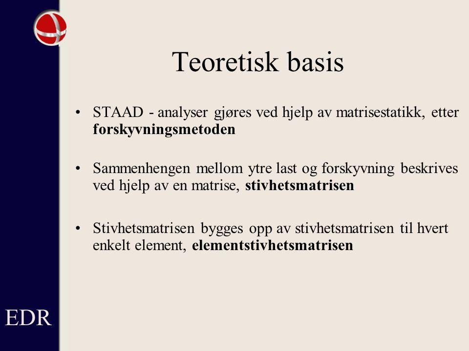 EDR Teoretisk basis. STAAD - analyser gjøres ved hjelp av matrisestatikk, etter forskyvningsmetoden.