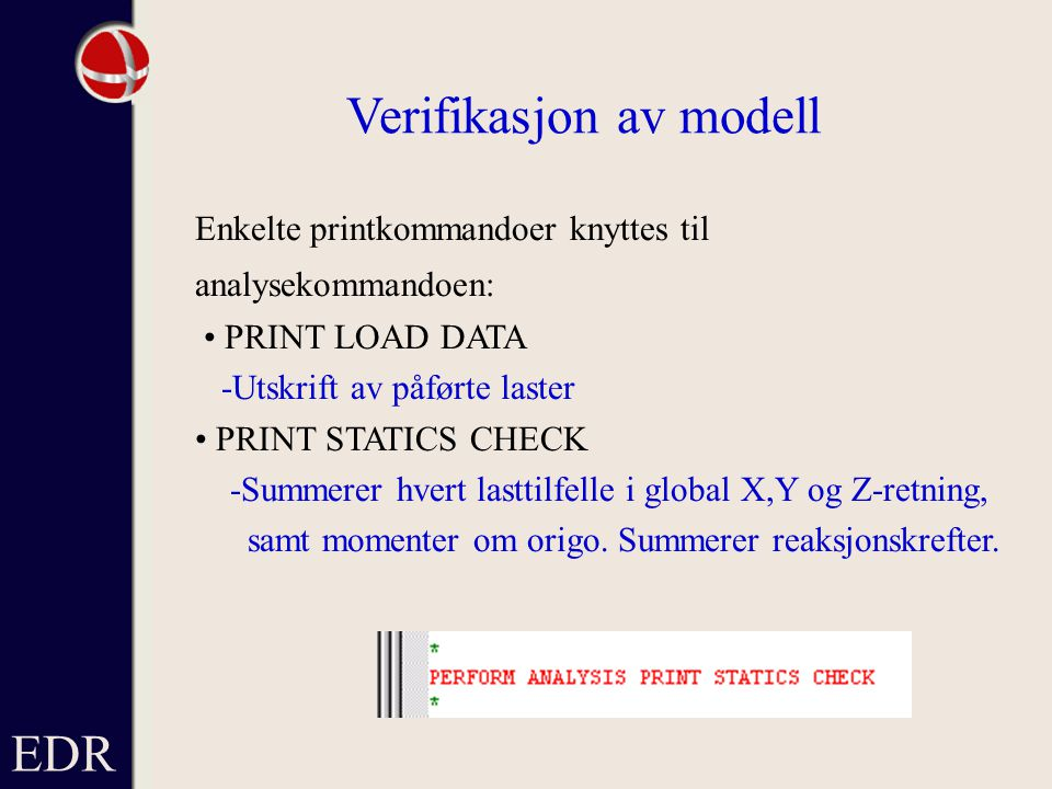 Verifikasjon av modell
