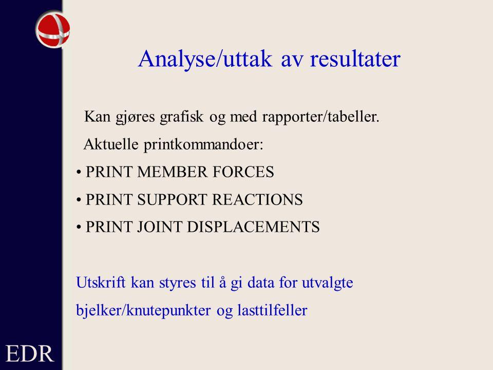 Analyse/uttak av resultater