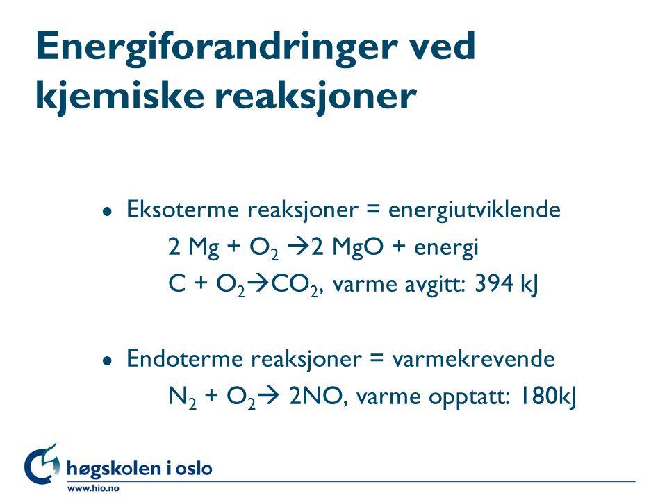 Energiforandringer ved kjemiske reaksjoner