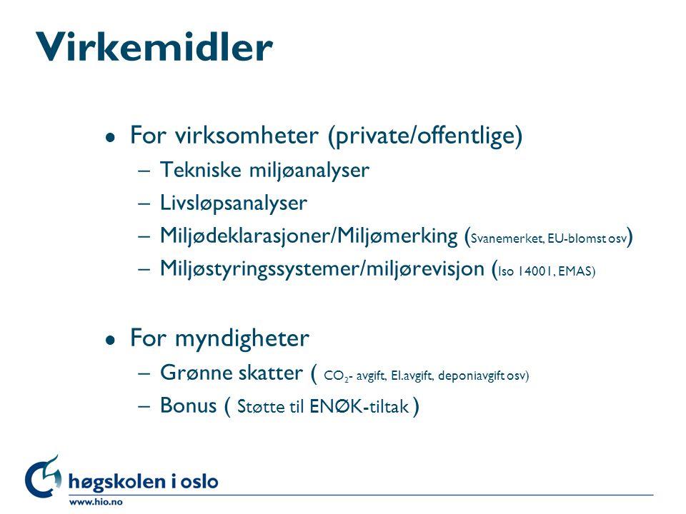 Virkemidler For virksomheter (private/offentlige) For myndigheter