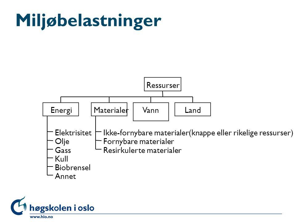Miljøbelastninger Energi Materialer Vann Land Ressurser Elektrisitet