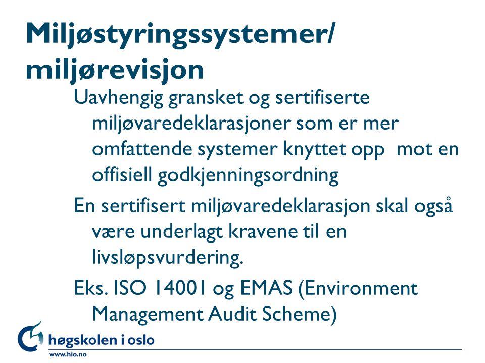 Miljøstyringssystemer/ miljørevisjon