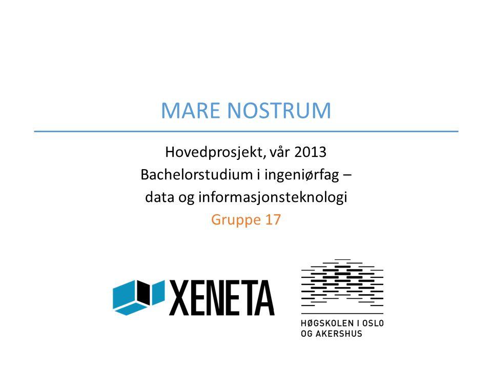 MARE NOSTRUM Hovedprosjekt, vår 2013 Bachelorstudium i ingeniørfag –