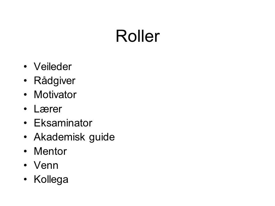Roller Veileder Rådgiver Motivator Lærer Eksaminator Akademisk guide