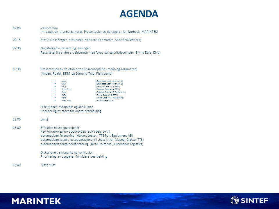AGENDA 09:00 Velkommen Introduksjon til arbeidsmøtet. Presentasjon av deltagere (Jan Norbeck, MARINTEK)