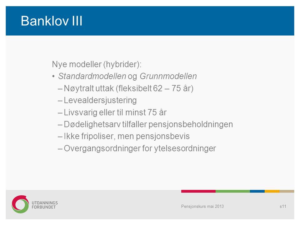 Banklov III Nye modeller (hybrider): Standardmodellen og Grunnmodellen