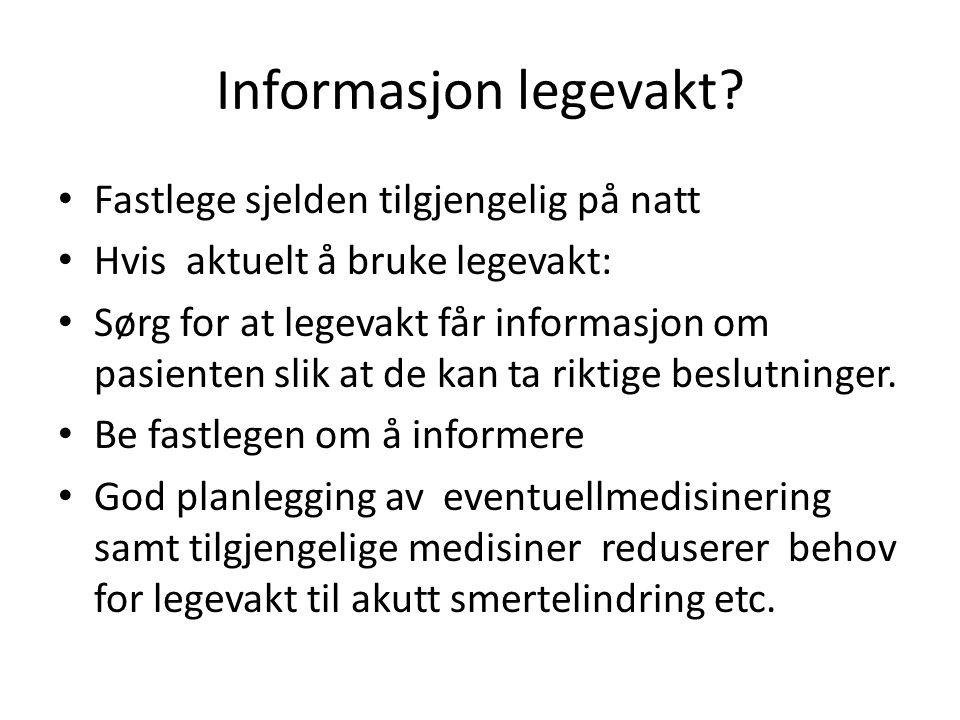 Informasjon legevakt Fastlege sjelden tilgjengelig på natt