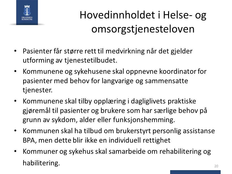 Hovedinnholdet i Helse- og omsorgstjenesteloven