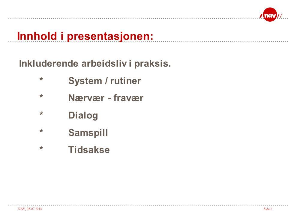 Innhold i presentasjonen: