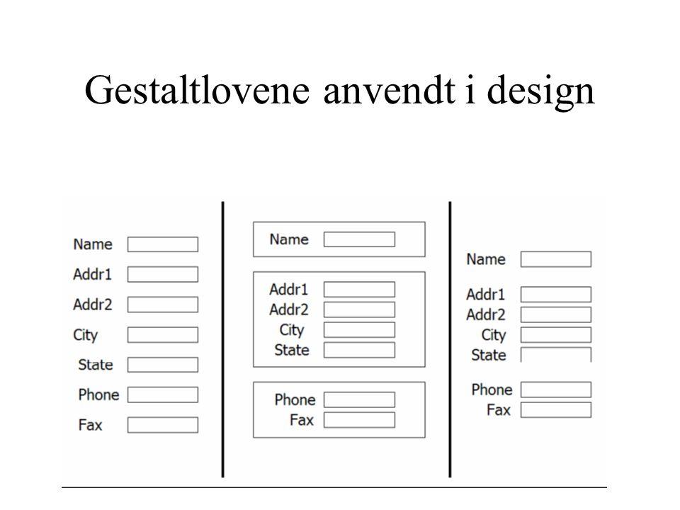 Gestaltlovene anvendt i design