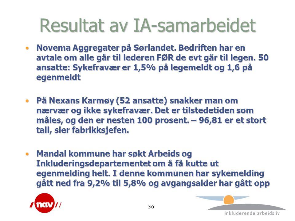 Resultat av IA-samarbeidet