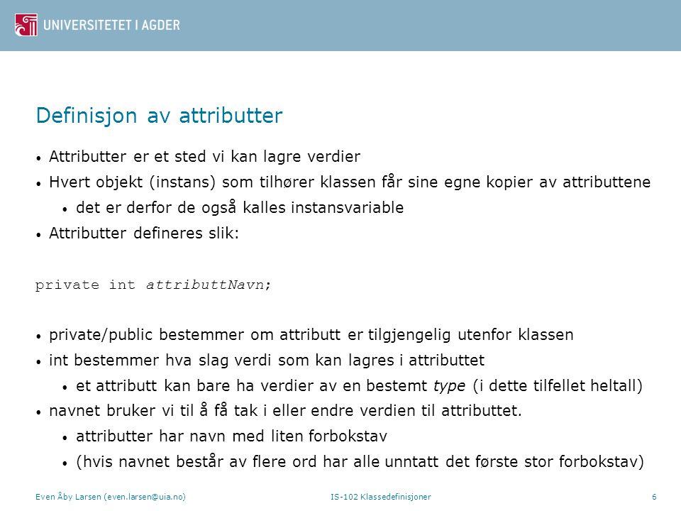 Definisjon av attributter