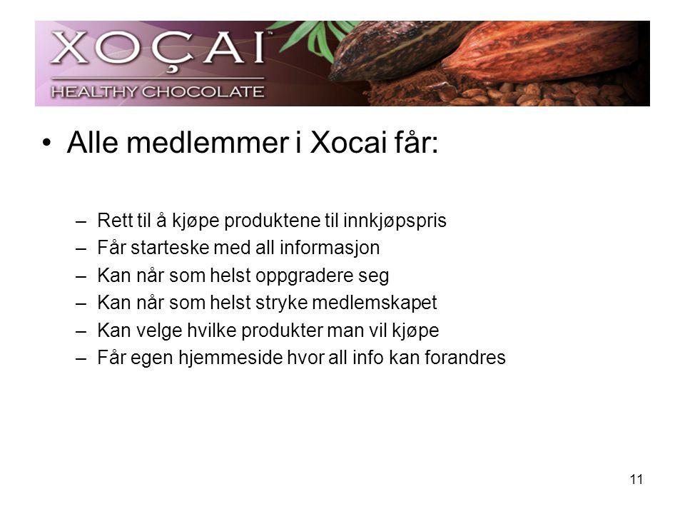 Alle medlemmer i Xocai får: