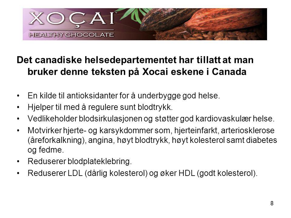 Det canadiske helsedepartementet har tillatt at man bruker denne teksten på Xocai eskene i Canada