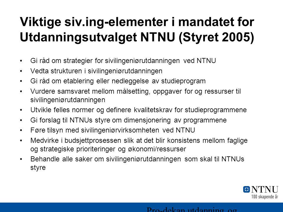 Viktige siv.ing-elementer i mandatet for Utdanningsutvalget NTNU (Styret 2005)