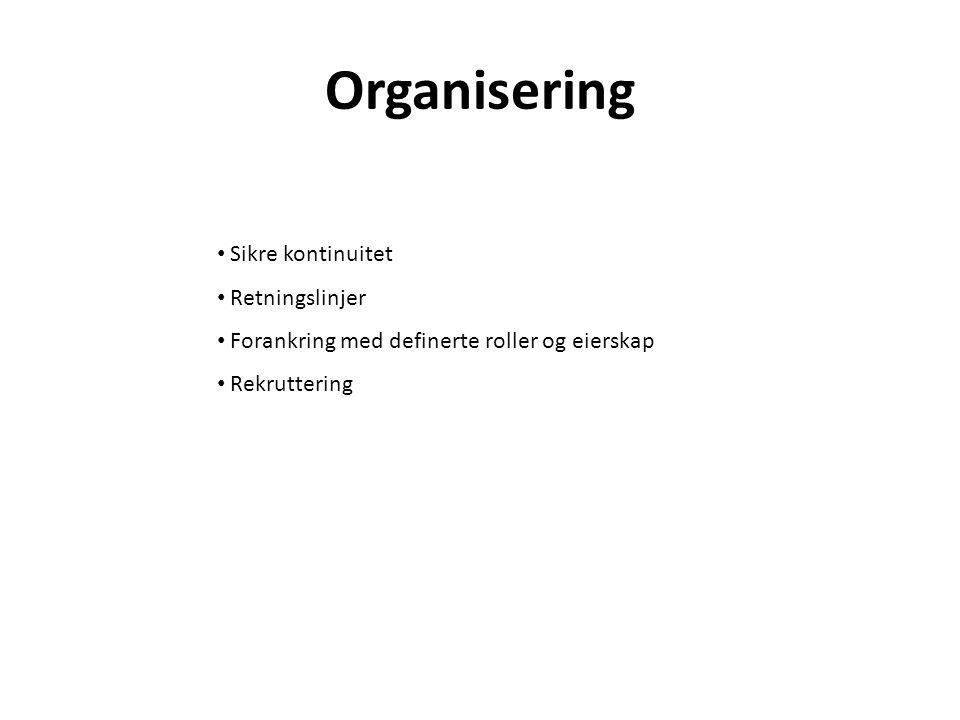 Organisering Sikre kontinuitet Retningslinjer
