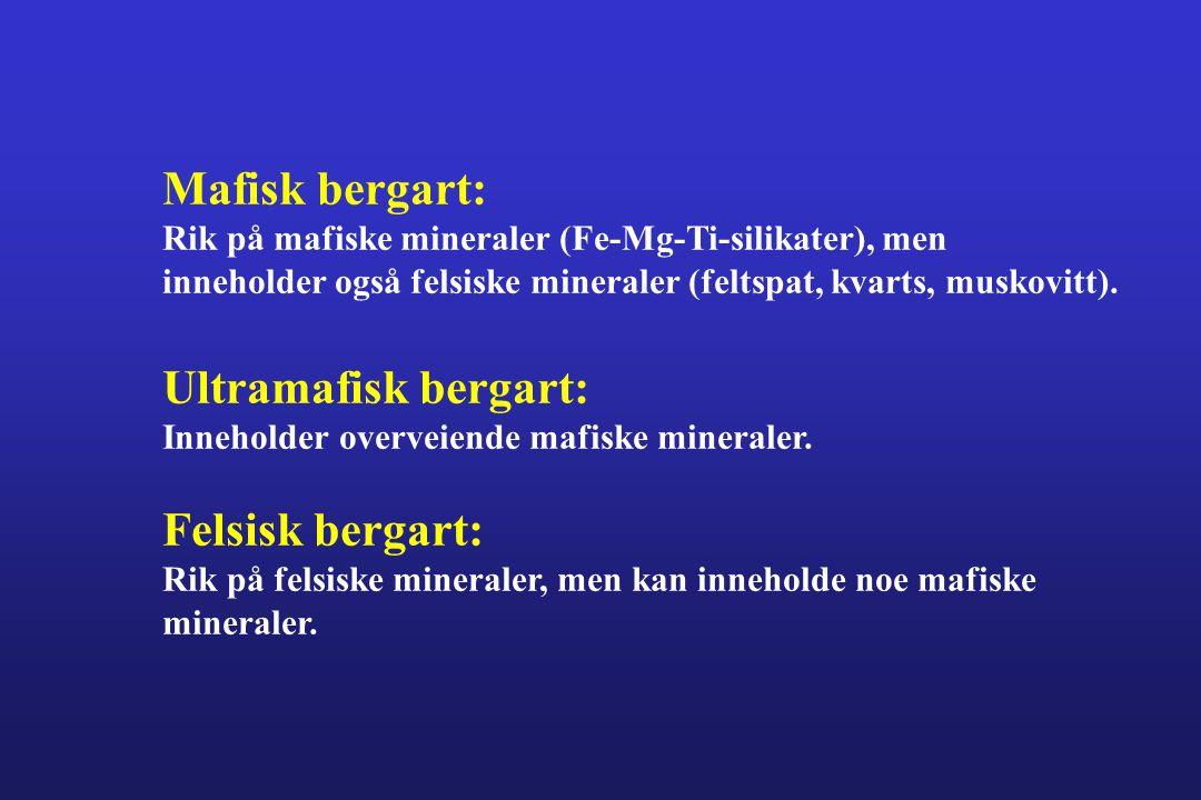 Mafisk bergart: Ultramafisk bergart: Felsisk bergart: