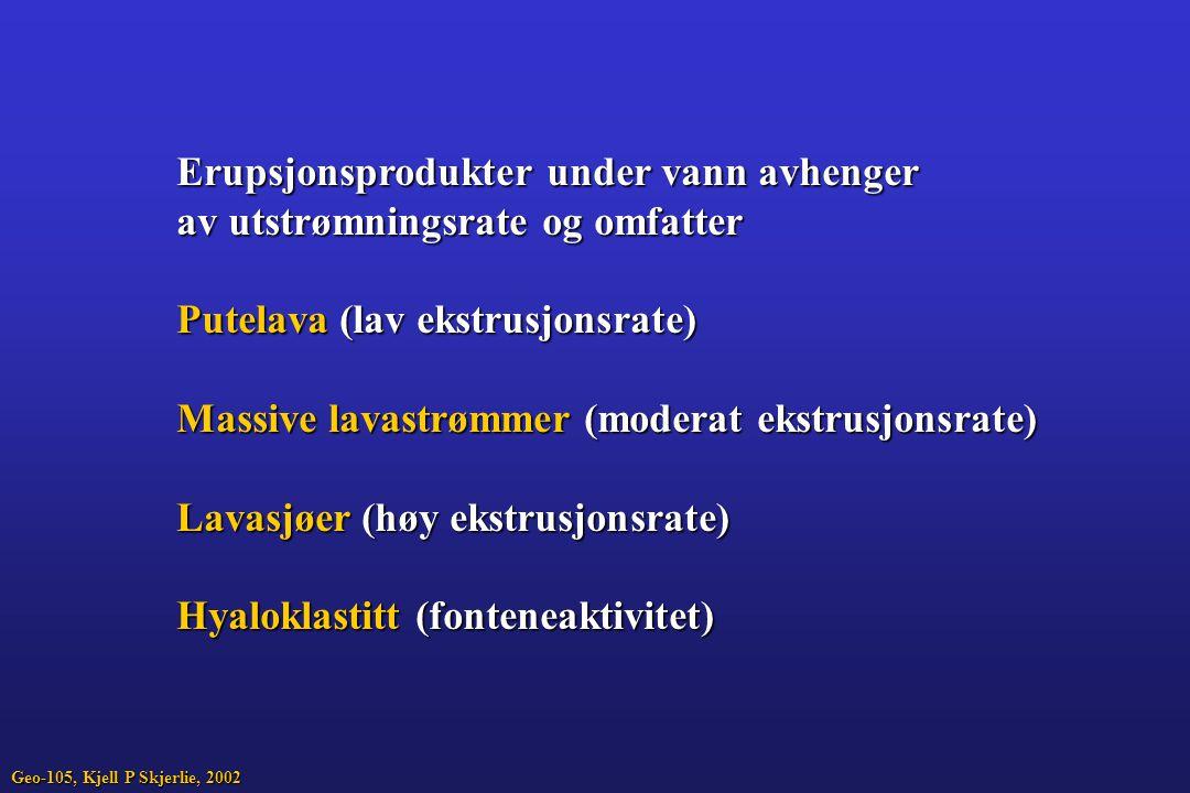 Erupsjonsprodukter under vann avhenger av utstrømningsrate og omfatter