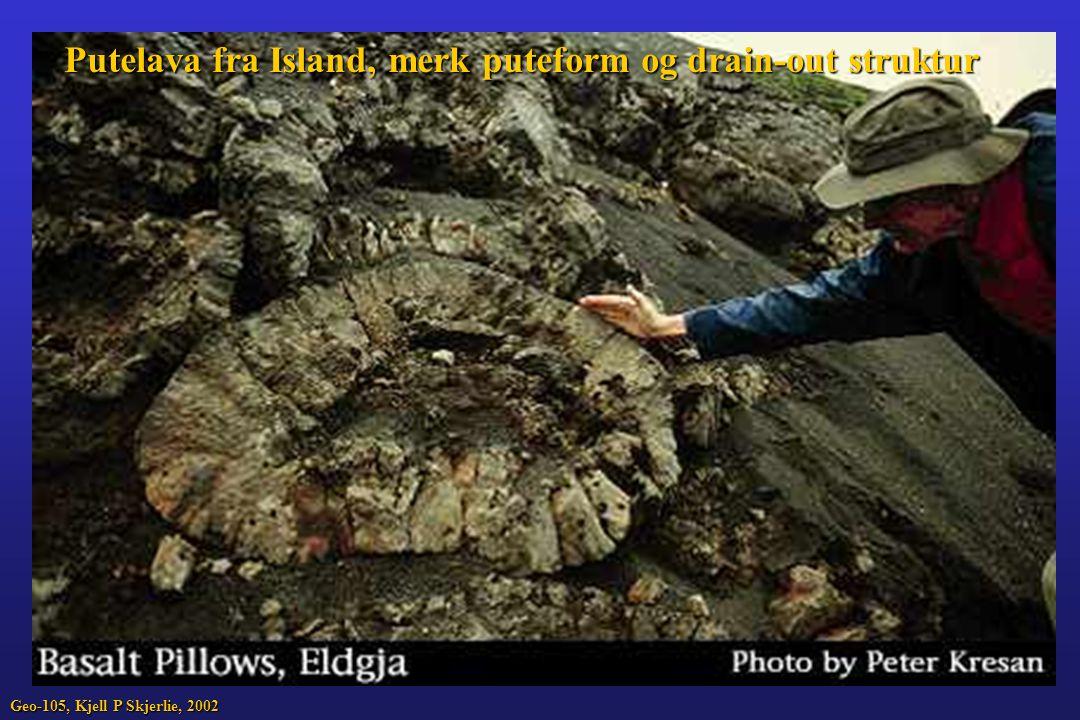 Putelava fra Island, merk puteform og drain-out struktur