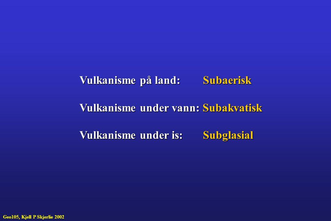 Vulkanisme på land: Subaerisk Vulkanisme under vann: Subakvatisk