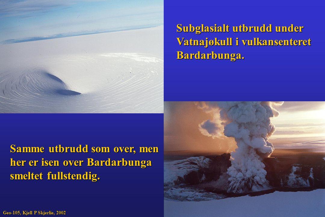 Subglasialt utbrudd under Vatnajøkull i vulkansenteret Bardarbunga.