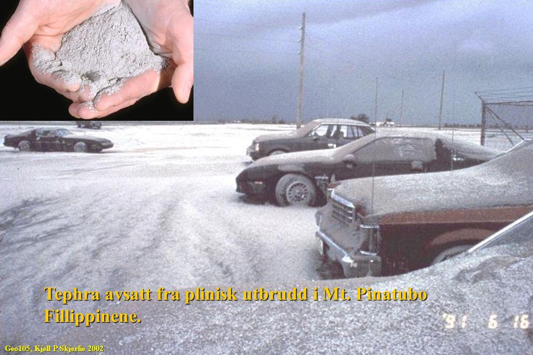 Tephra avsatt fra plinisk utbrudd i Mt. Pinatubo Fillippinene.