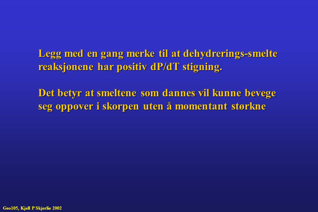 Legg med en gang merke til at dehydrerings-smelte