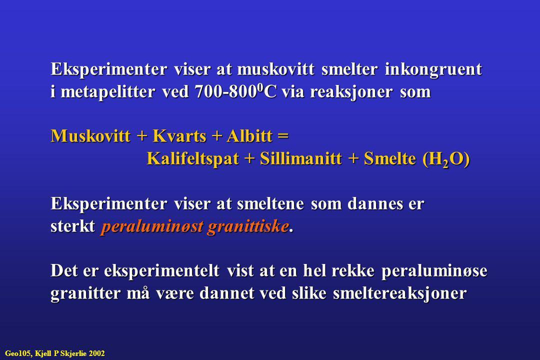 Eksperimenter viser at muskovitt smelter inkongruent
