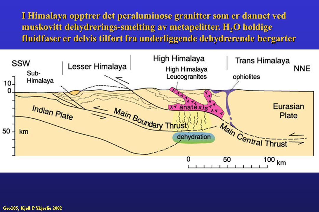 I Himalaya opptrer det peraluminøse granitter som er dannet ved